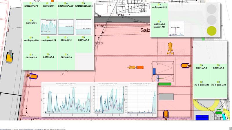 PRTG zeigt die Kernprozesse der einzelnen Baustellen übersichtlich in einer Map an