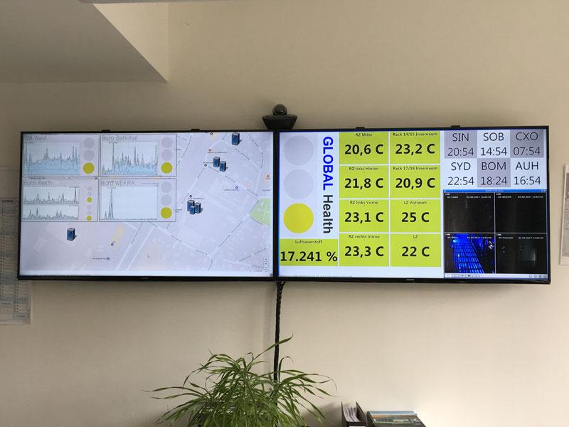 Monitore im Büro der Systemadministration