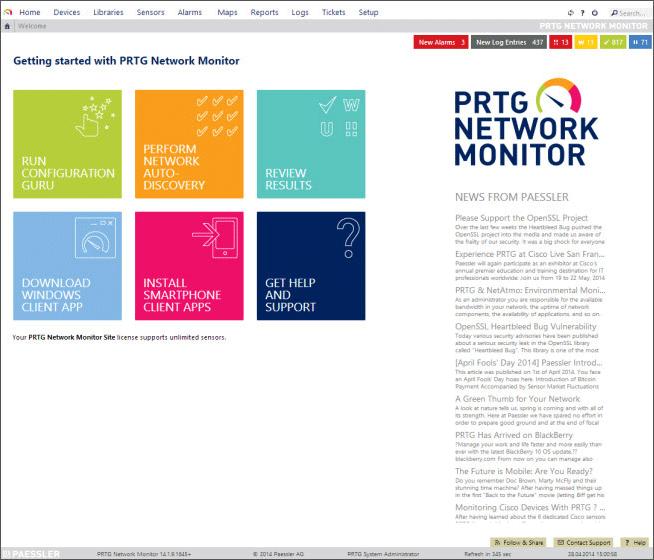 Startseite des Netzwerk Monitors
