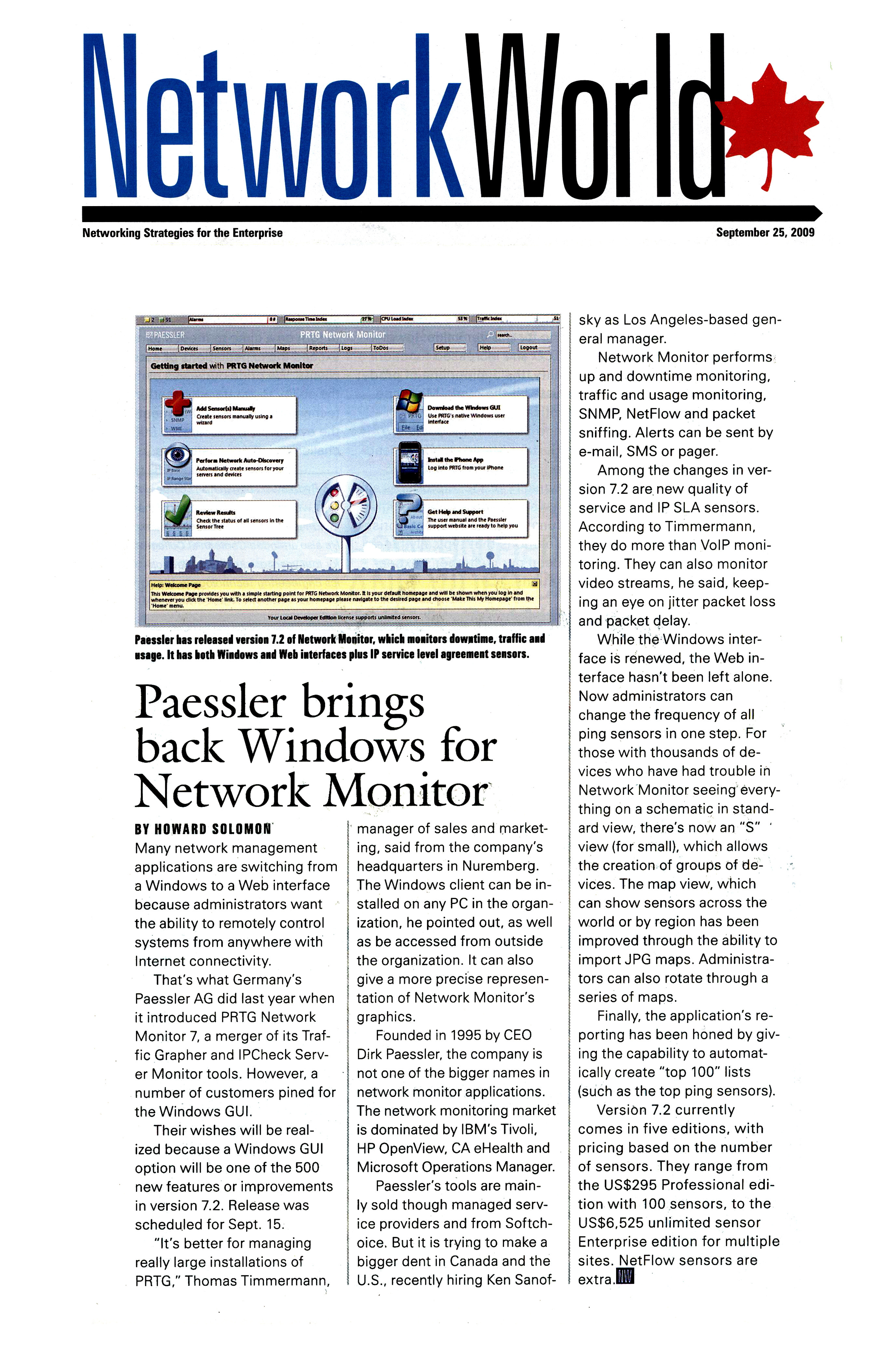 PRTG 7.2 featured in IT World Canada
