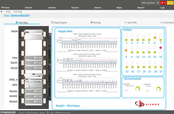Monitoring a Siemon rack with PRTG