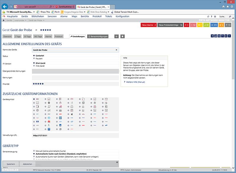 Handbuch in der Hilfefunktion des Web-Interfaces