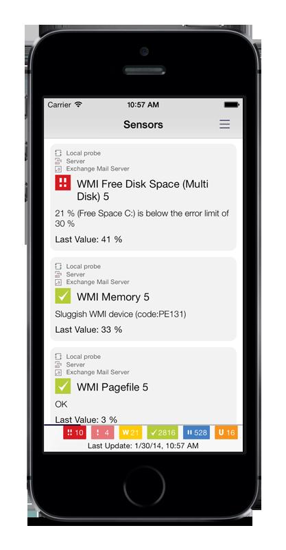 PRTG for iOS Includes Sensor Lists