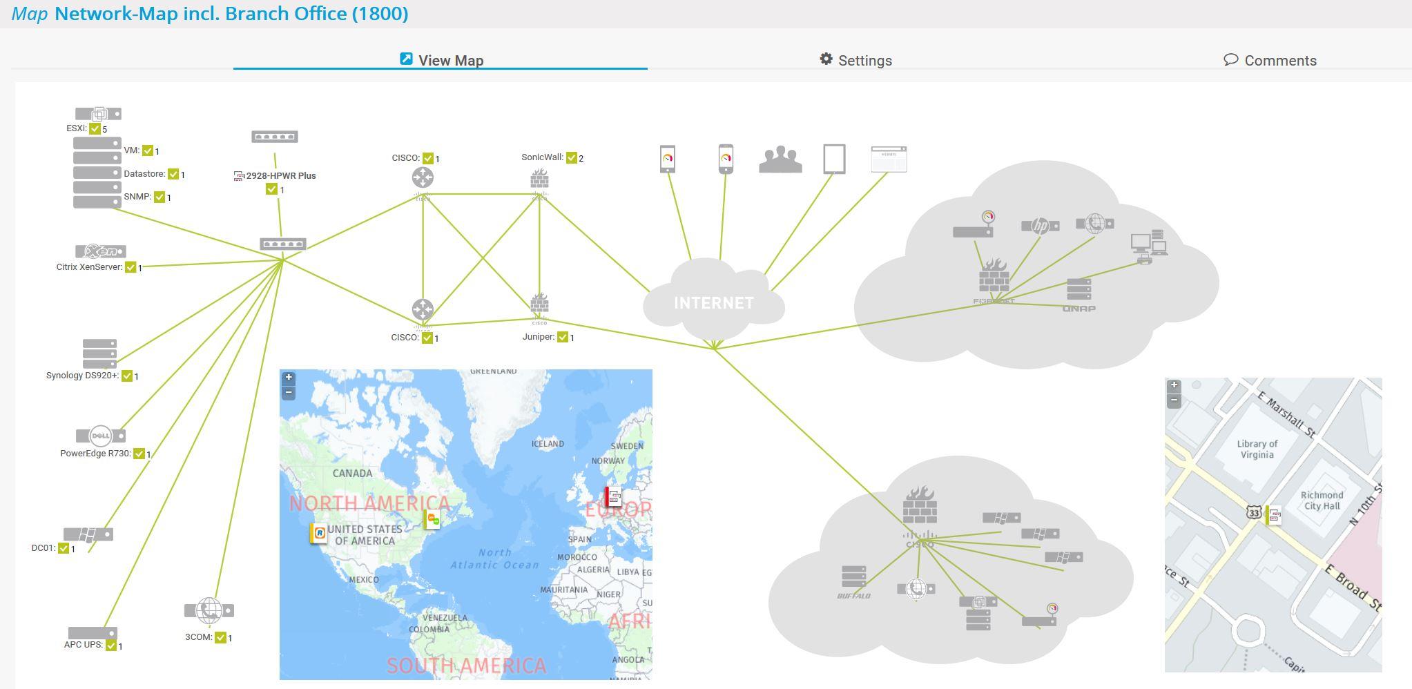 Netzwerk-Map inkl. Niederlassung