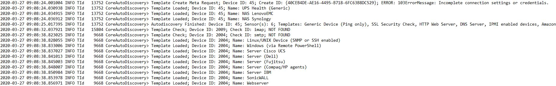 Auto-discovery logfile