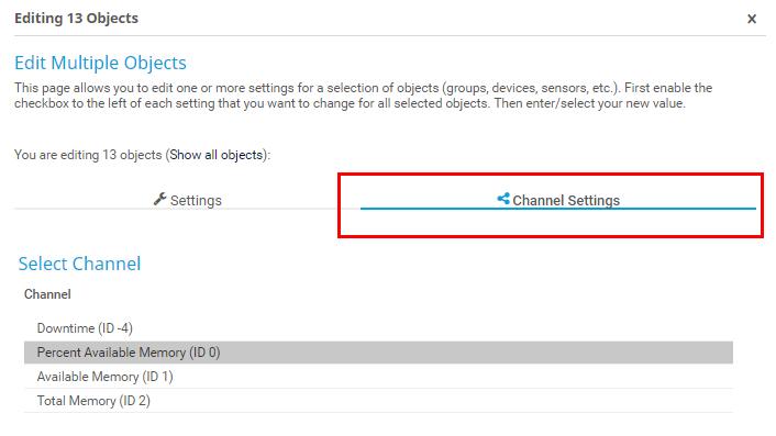 Set channel setting