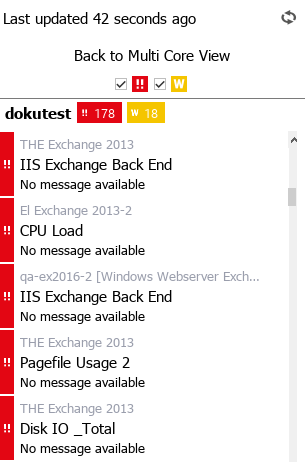 Overview of a selected server