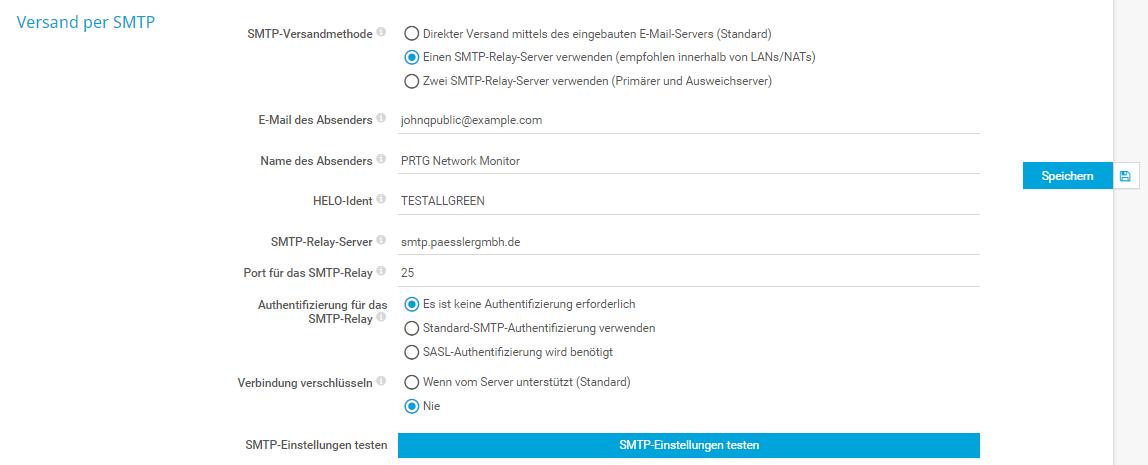 Einstellungen für SMTP-Versandmethode