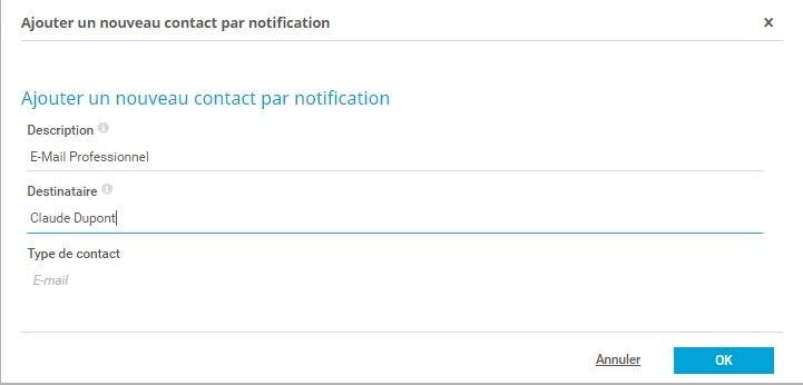 Configuration des contacts de notification