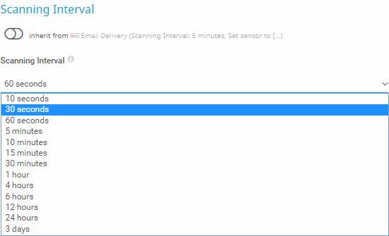 Scanning intervals dropdown menu