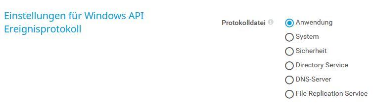 Einstellungen für Windows API Ereignisprotokoll