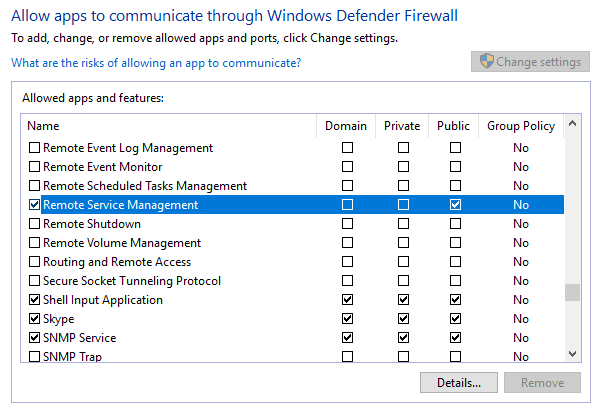 Windows firewall settings