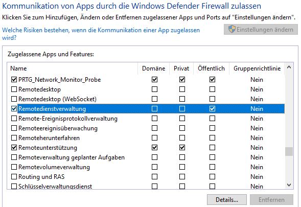 Einstellungen Windows-Firewall