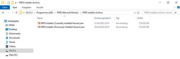 Installation derselben PRTG Version wie auf dem alten Server