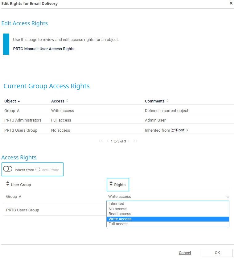 Define access rights for objects in the device tree
