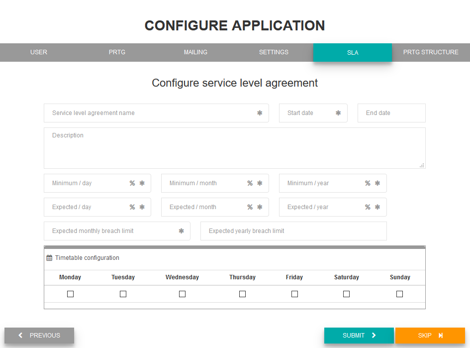 Configure service level agreement