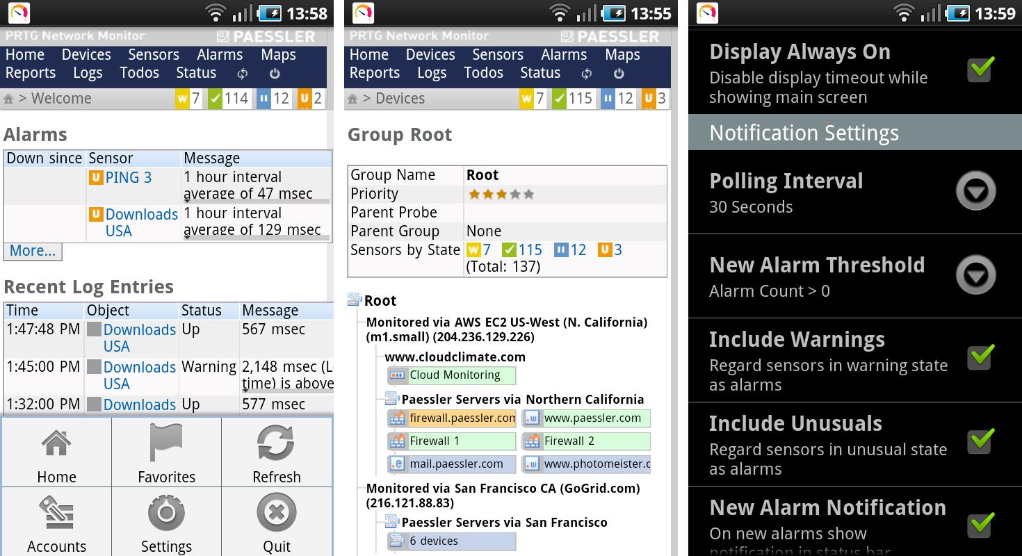 PRTGdroid Screenshots