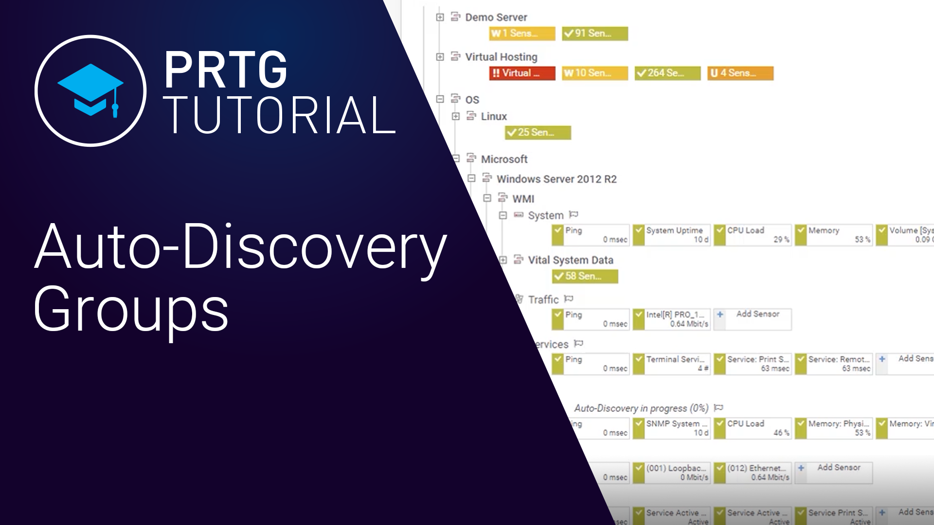 PRTG Auto-Discovery Groups (Videos, Overview)