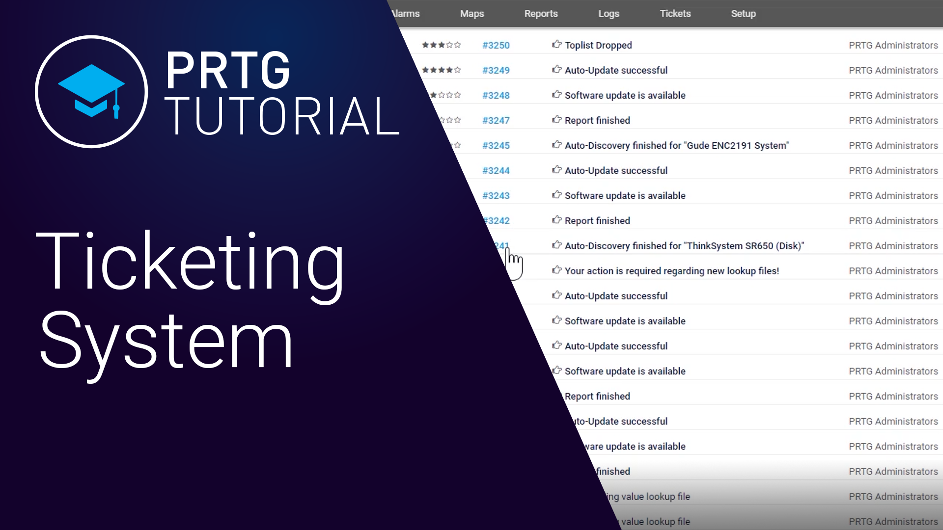 Video: PRTG Network Monitor - Ticketsystem (Videos, Tickets)