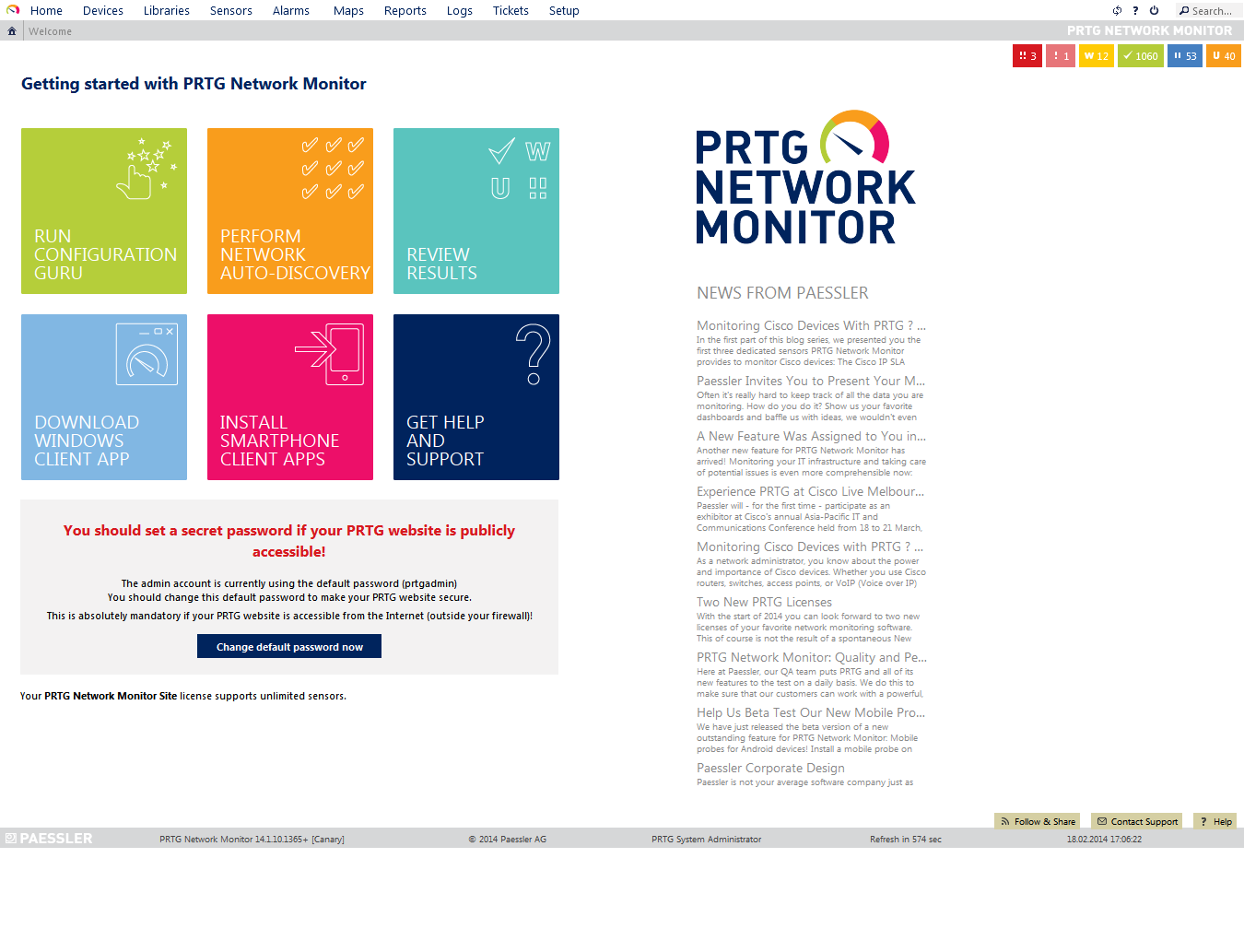 Start screen of the PRTG web interface
